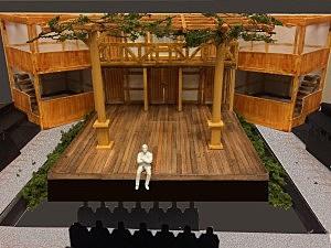 A model of the Shakespeare's Globe set under construction at UM (UM Photo)