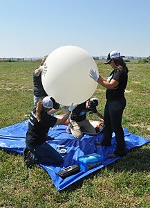 A University of Montana-led team prepares a balloon launch in Wyoming before the Aug. 21 solar eclipse. (UM Photo)